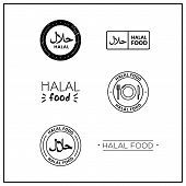 A Set Of Black And White Vector Logos halal, halal Food. Vector Logos For Products. Icons halal poster