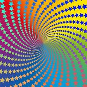 Star Pattern Spiral. Colorful, Psychedelic, Hypnotizing, Trance-like, Vibrant, Energetic, Vivid, Int poster