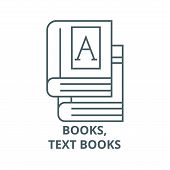 Books, Text Books Line Icon, Vector. Books, Text Books Outline Sign, Concept Symbol, Flat Illustrati poster