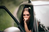 Car Sick Travel Woman With Motion Sickness Symptoms poster