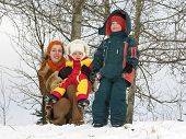 Mother With Children. Winter.