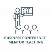 Business Conference, Mentor Teaching Line Icon, Vector. Business Conference, Mentor Teaching Outline poster