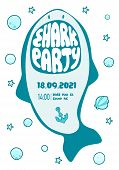 Invitation Sea Party, Shark Teeth Lettering, Shark Party poster