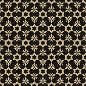 Vector Golden Floral Seamless Pattern. Elegant Christmas Background. Luxury Geometric Texture With S poster