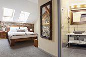 Bedroom Interior In Luxury Loft, Attic, Apartment With Roof Windows And Bathroom - Hotel Room - Vaca poster