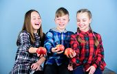 Boy And Girls Friends Eat Apple. Teens With Healthy Snack. Healthy Dieting And Vitamin Nutrition. Ea poster