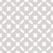 Subtle Vector Seamless Pattern. Abstract Geometric Texture With Square Grid, Net, Crosses. Simple Mi poster
