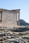 Athens, Greece - 06/23/2013 - Panoramic Background With Acropolis, Porch Of Caryatids, Erechtheum Te poster