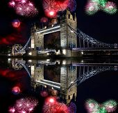 Tower bridge with firework, celebration of the New Year in London, UK