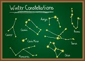 image of perseus  - Winter Constellations of northern sky drawn on school chalkboard - JPG