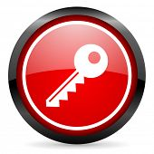 key round red glossy icon on white background