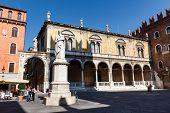 stock photo of alighieri  - Dante Statue on Piazza dei Signori in Verona Veneto Italy - JPG