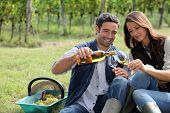 Winegrowers tasting wine