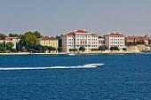 Zadar Peninsula Waterfront With Powerboat