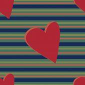 Muted Stripe Heart Pattern