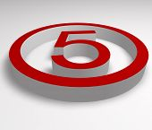 Numbers 5 Button In Red
