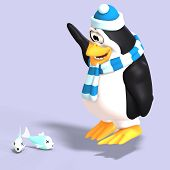 picture of growler  - male toon enguin with hat and scraf and clipping path - JPG
