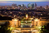 Paris panorama, France at night. View on La Defense from Eiffel Tower.