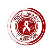image of intercourse  - Rubber stamp for World Aids Day background with red ribbon of aids awareness - JPG