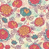 Peony flowers and leaves seamless pattern background