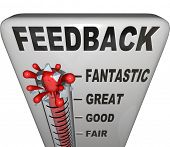 The word Feedback on a thermometer measuring customer or audience response to a product, event, init
