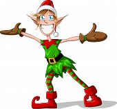 Christmas Elf Spreading Arms And Smiling