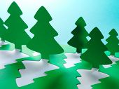 stock photo of kirigami  - Christmas tree paper cutting design card - JPG
