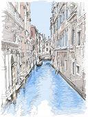 Venetië - water kanaal, oude gebouwen & weg gondel. Vector tekening