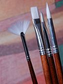 A Set Of Artist Paint Brushes
