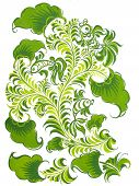 Russian Folk Design With Fish In Green Color