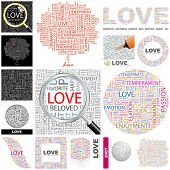 LOVE. Word collage. Vector illustration.