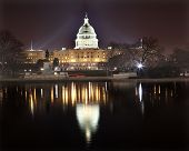 Us Capitol Night Reflection Washington Dc
