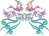 twin phoenix chinese style on white background