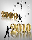 neues Jahr 2010 bewegt sich in
