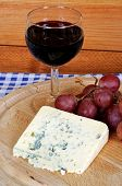 Blue cheese with red wine.