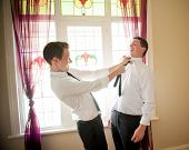 picture of mans-best-friend  - Groom and his Best Man joking and playing while they dress up and get ready for the wedding - JPG