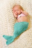 Newborn Baby Girl Wearing Mermaid Costume