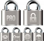 stock photo of pick-lock  - Internet security professional alarm system icon set on stainless steel vector padlock buttons - JPG