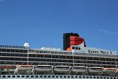 Queen Mary 2 cruise ship detail at Brooklyn Cruise Terminal