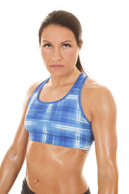foto of halter-top  - A woman in a blue plaid halter top with sweat on her - JPG