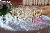 Decorated Wedding Glasses With Champagne
