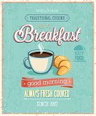 stock photo of croissant  - Vintage Breakfast Poster - JPG
