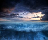 stock photo of cloud formation  - Fantasy Skyscape Sunset Over Surreal Vortex Formation - JPG