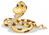 Illustration of a scary snake on a white background