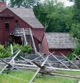 stock photo of split rail fence  - New England split rail fence with farm buildings - JPG