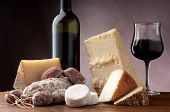 stock photo of brie cheese  - italian cheese salami and red wine - JPG