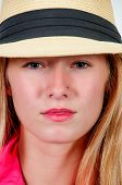 pic of fedora  - Beautiful young woman in a fedora hat - JPG
