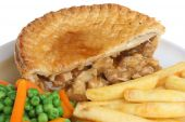 Chicken Pie, Chips And Vegetables