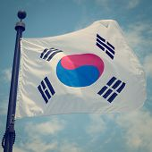 South Korean Flag with retro effect