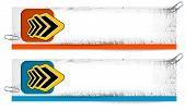 Set Of Two Dirty Banners With Abstract Arrow